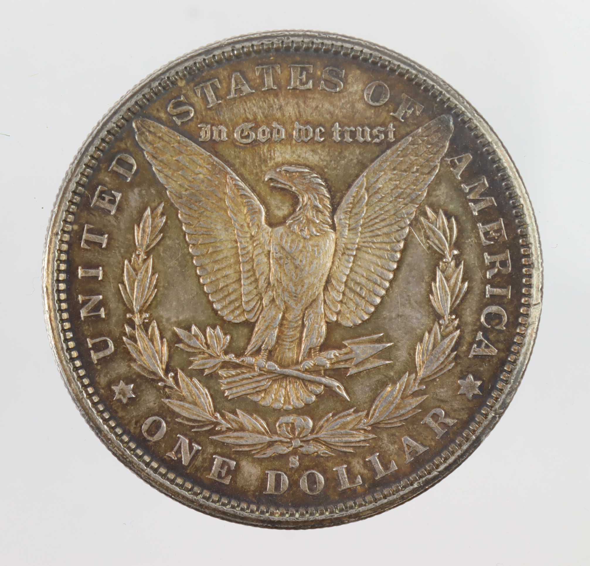 USA Morgan Silver Dollar 1881S, toned UNC, small scratch. - Image 2 of 2
