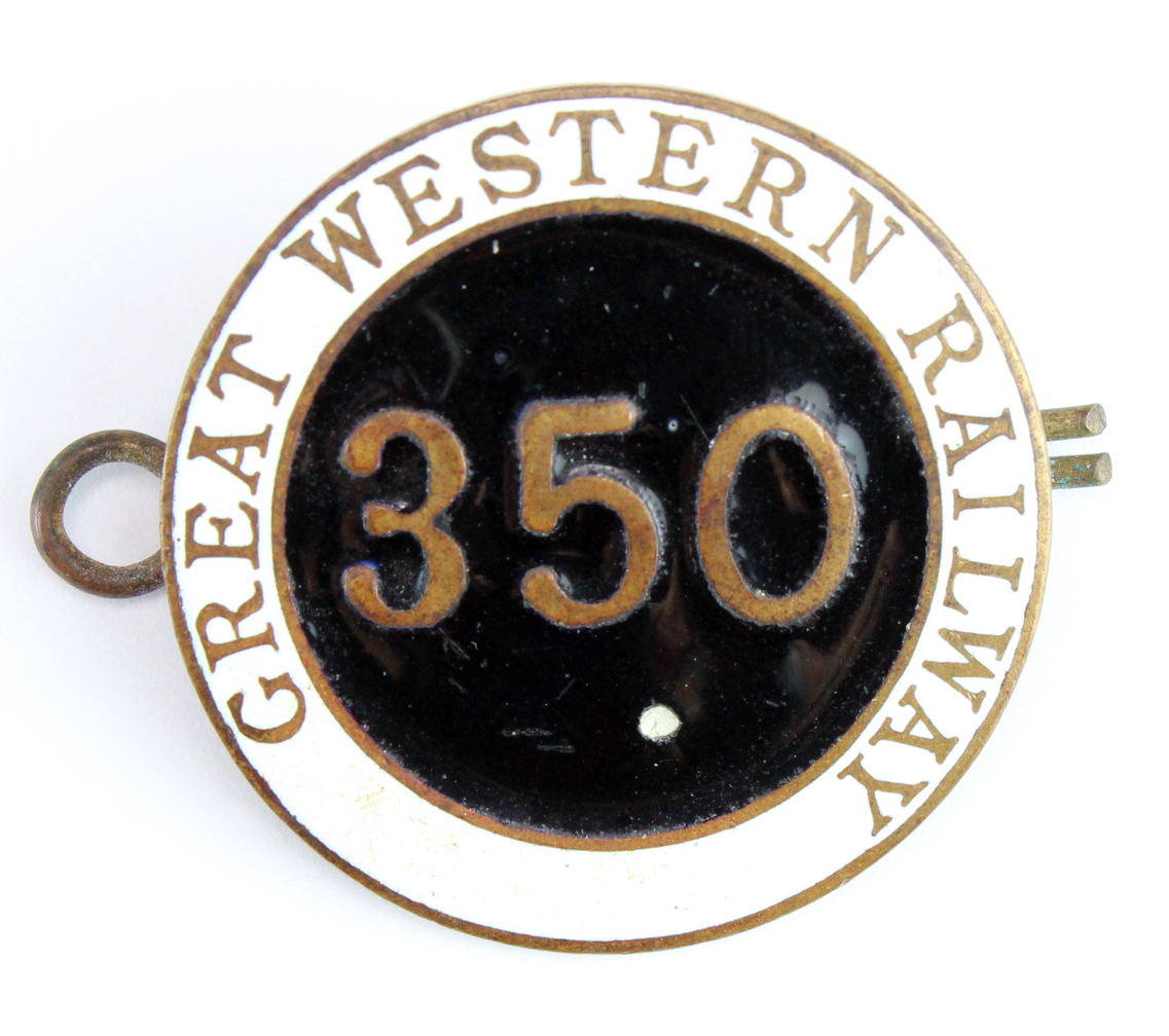Great Western Railway brass & enamel hat badge No. 350 (possibly Maritime related)