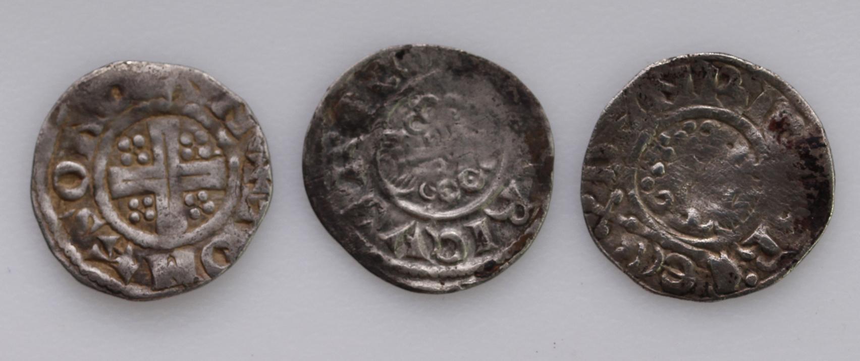 Henry III Short Cross Pennies of Canterbury (3): Class 7c1, moneyer Ioan Chic, S.1356C, 1.29g, VG;