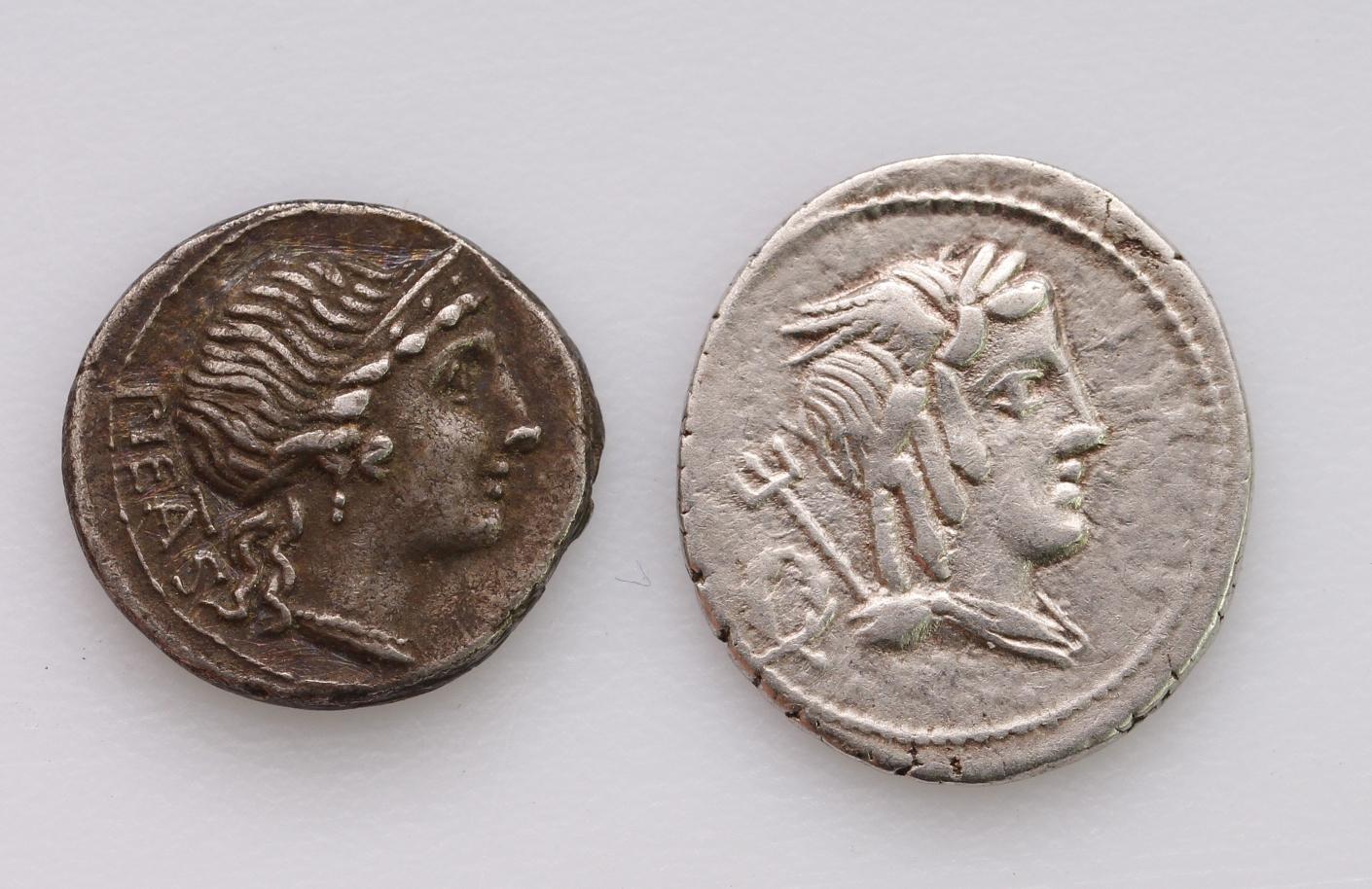Roman Republican silver Denarii (2): M. Herennius 108-107BC. Amphinomus running right, carrying