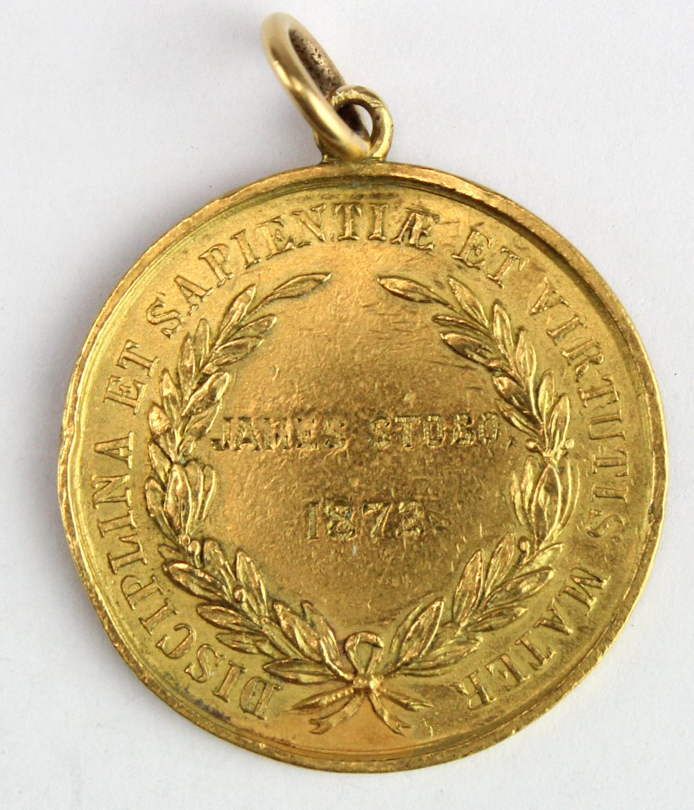 Ayr Academy - unmarked yellow metal medal (tests as 22ct. gold) to James Stobo 1872 (probably has