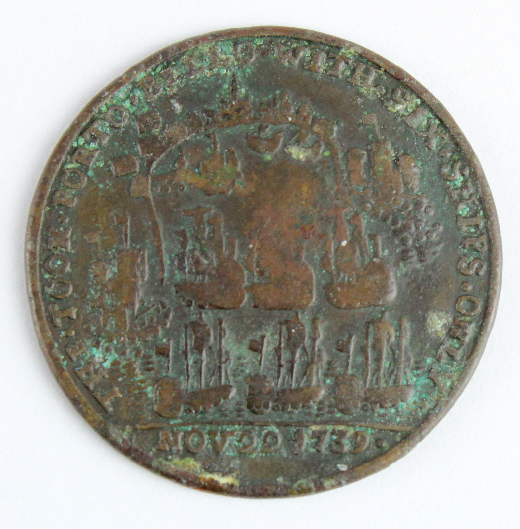 British Commemorative Medal, copper d.37mm: Capture of Porto Bello 1739, unsigned (by Pinchbeck), - Image 2 of 2