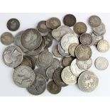 GB Pre-1920 Silver Coins (56) 535g, including better pieces 18th-19thC such as 2x young head