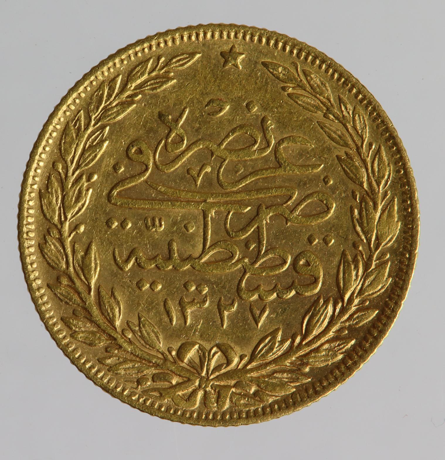 Turkey gold 100 Kurush AH1327//9, GVF (0.2127 troy oz AGW) - Image 2 of 2