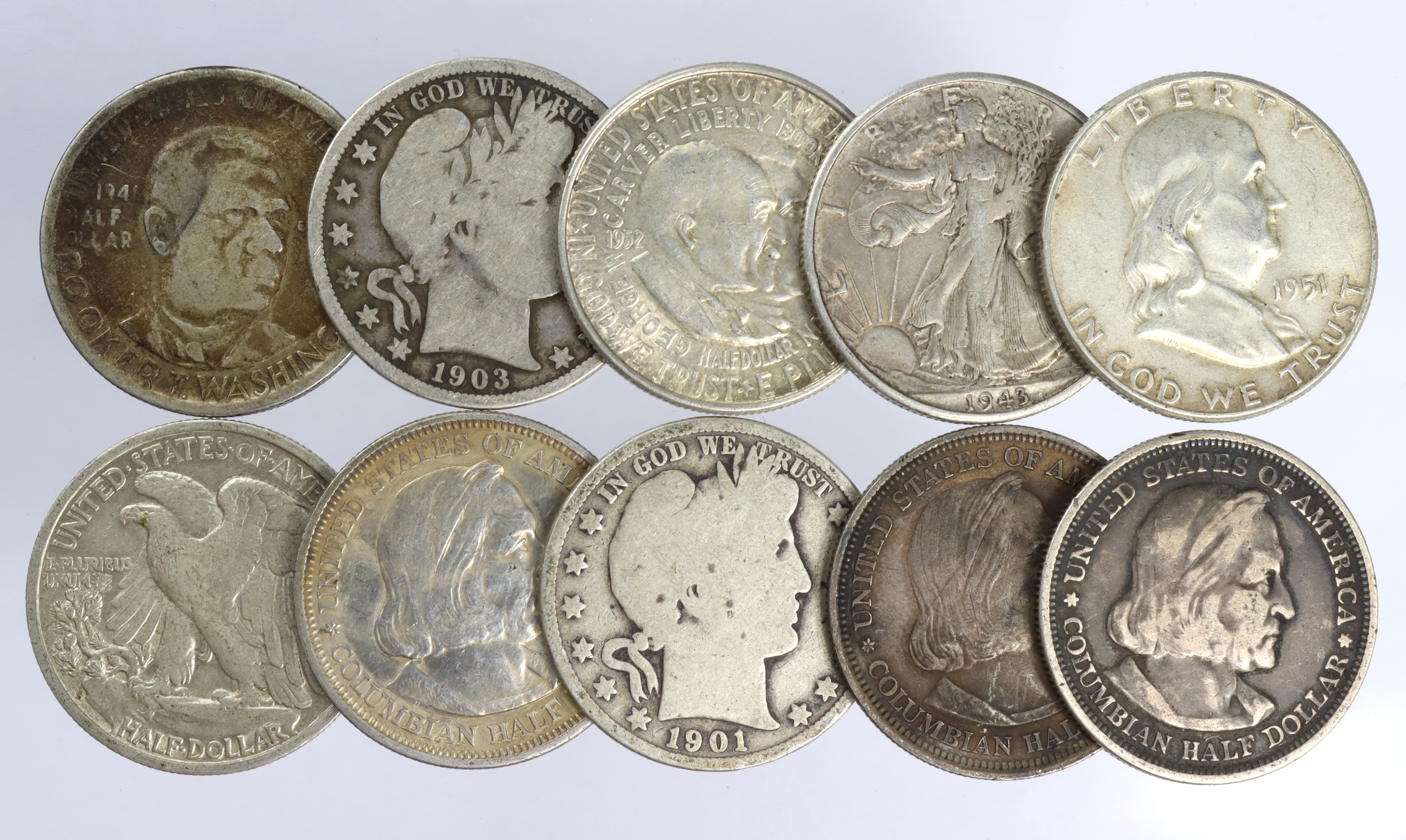 USA Silver Half Dollars (10) 1892 to 1952 including commemoratives, mixed grade.