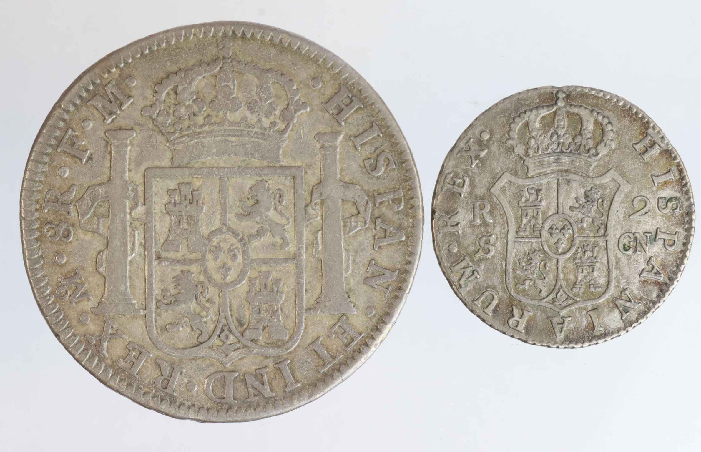 Spanish Colonial Silver (2): Mexico 8 Reales 1795 Mo FM, nVF, and Chile 2 Reales 1793 S C.N, aVF - Image 2 of 2