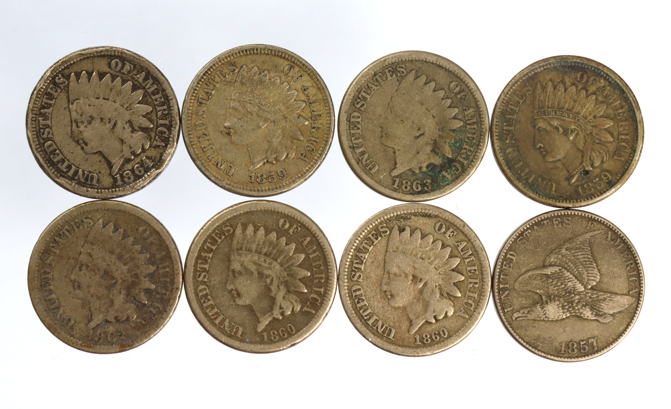 USA Copper-Nickel Cents (8) including 1857 flying eagle nVF