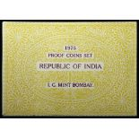 India Proof Set 1975 FDC, cellophane sealed with original paper case as issued. Rare.