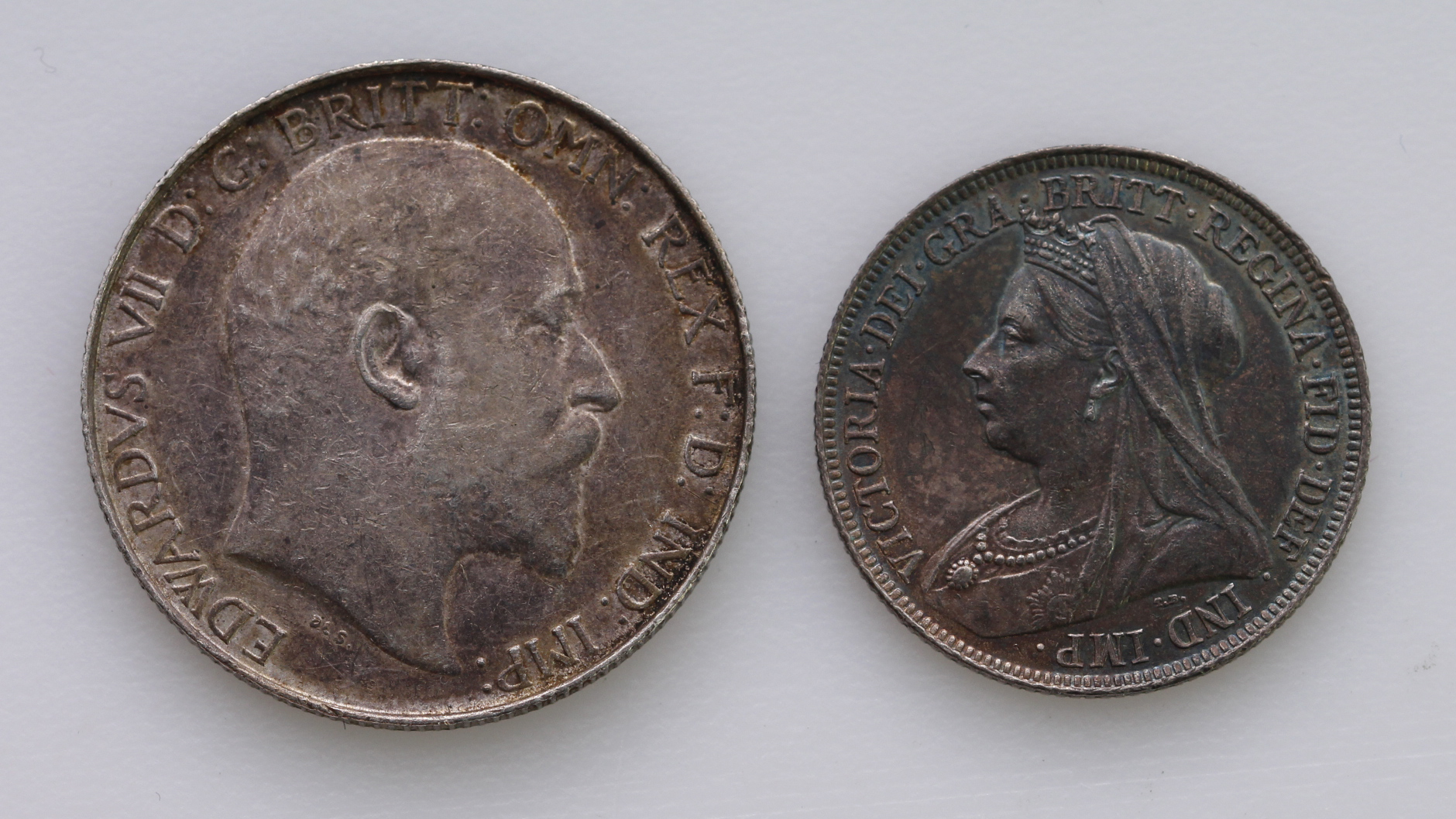 Shilling 1896 iridescent EF, and Florin 1906 VF