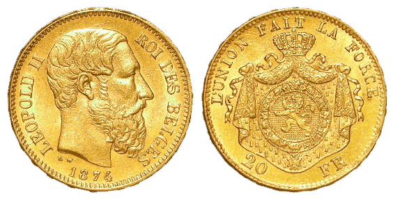 Belgium gold 20 Francs 1874 EF (0.1867 troy oz AGW)