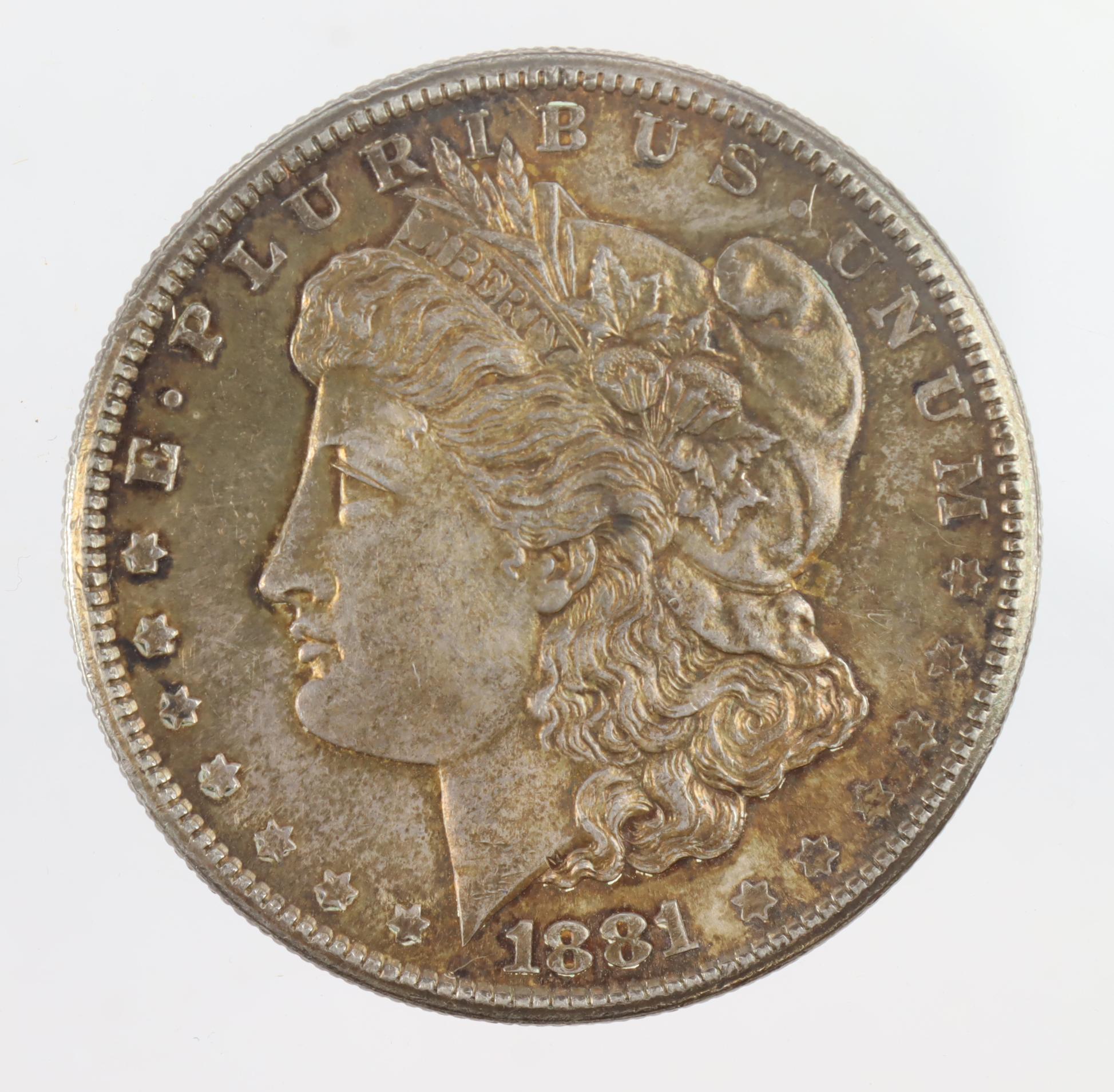 USA Morgan Silver Dollar 1881S, toned UNC, small scratch.