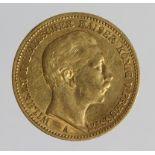 German State Prussia gold 20 Mark 1889A, KM# 516, VF (0.2305 troy oz AGW)