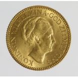 Netherlands gold 10 Gulden 1925 UNC (0.1947 troy oz AGW)