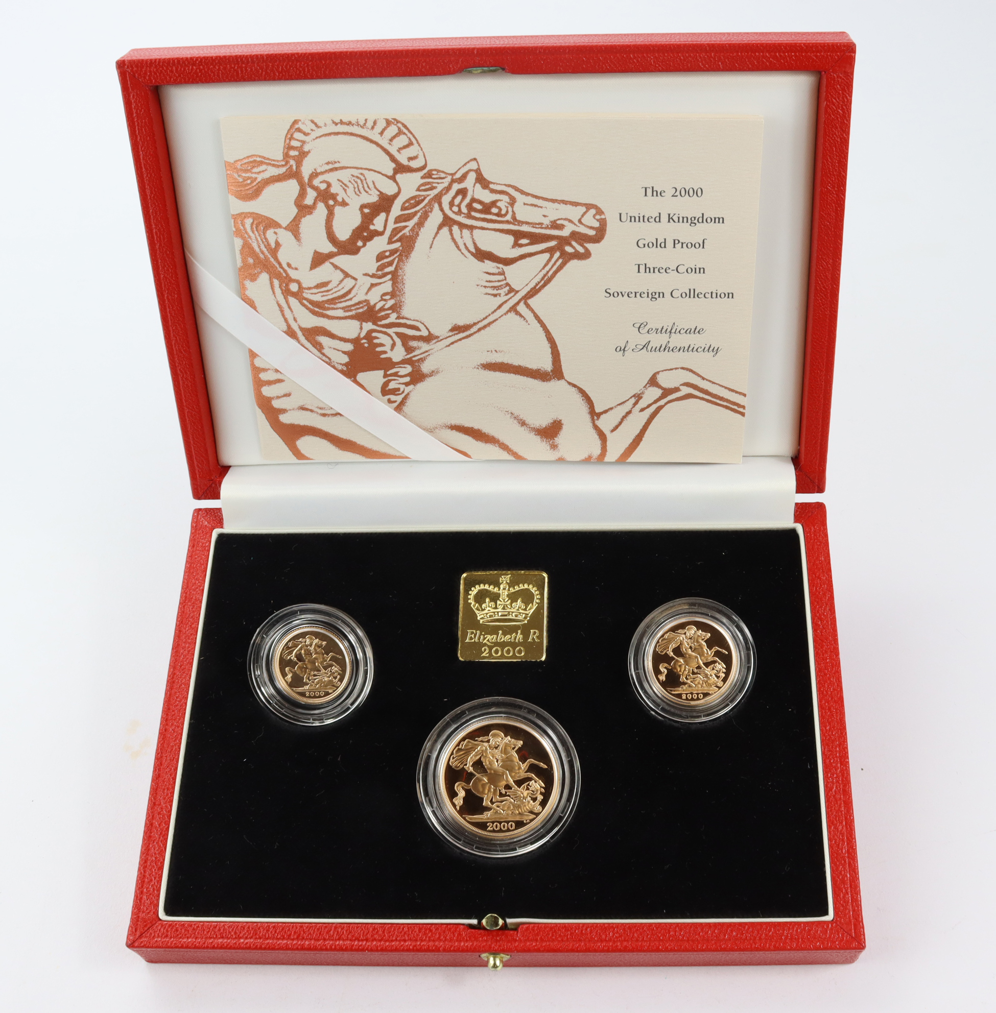 Three coin set 2000 (Two Pounds, Sovereign & Half Sovereign) Proof FDC boxed as issued