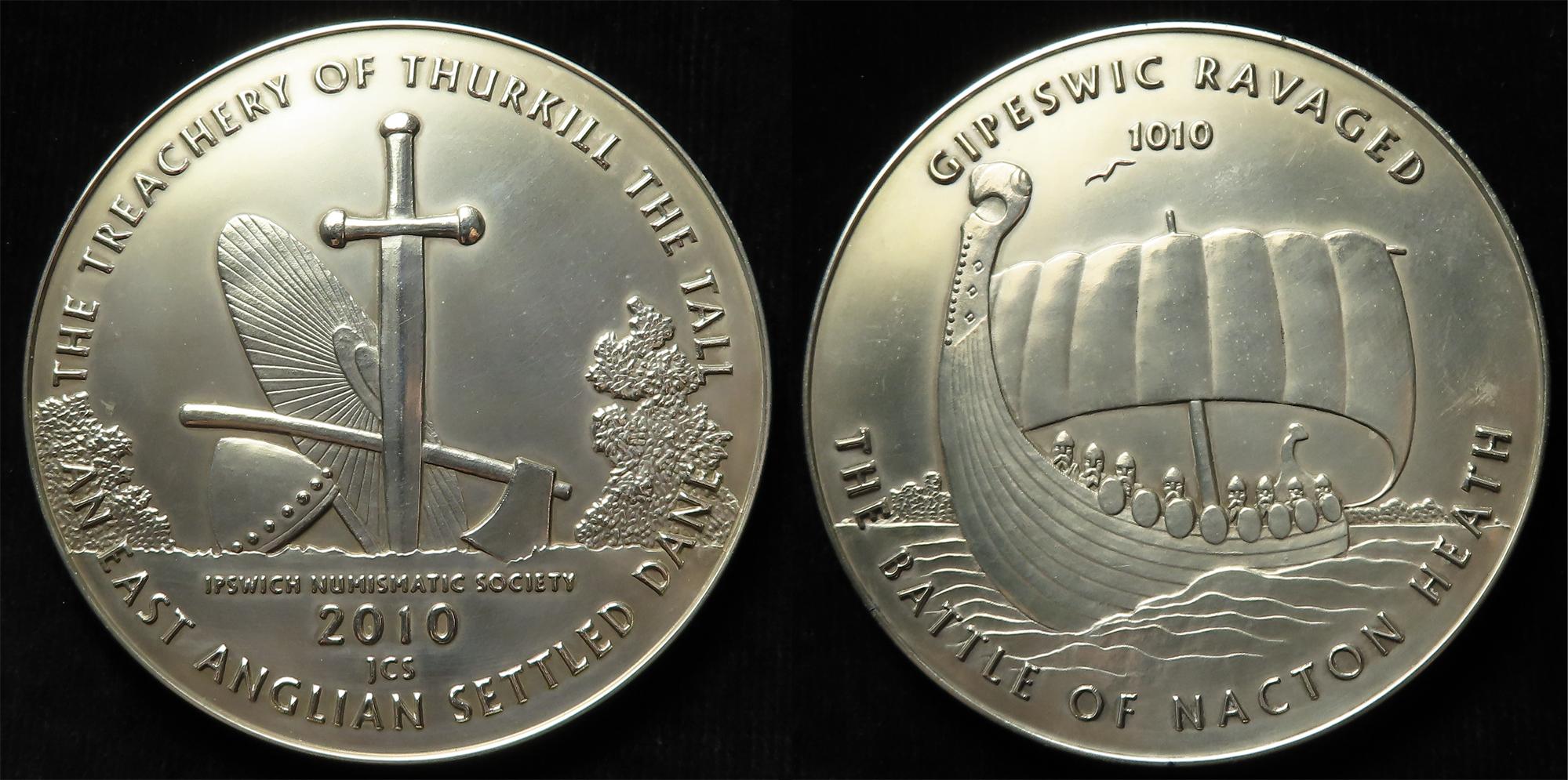British Commemorative Medal, hallmarked sterling silver d.75mm, 173.08g: The Treachery of Thurkill