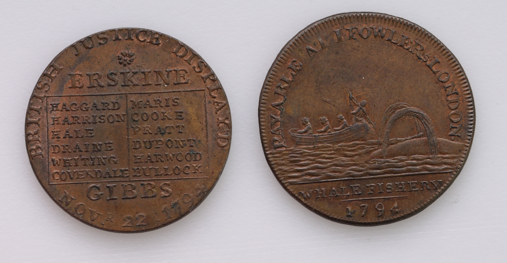 Tokens, 18thC (2) Middlesex, Halfpennies: Fowlers Whale Fishery 1794 EF trace lustre, and John Horne - Image 2 of 2