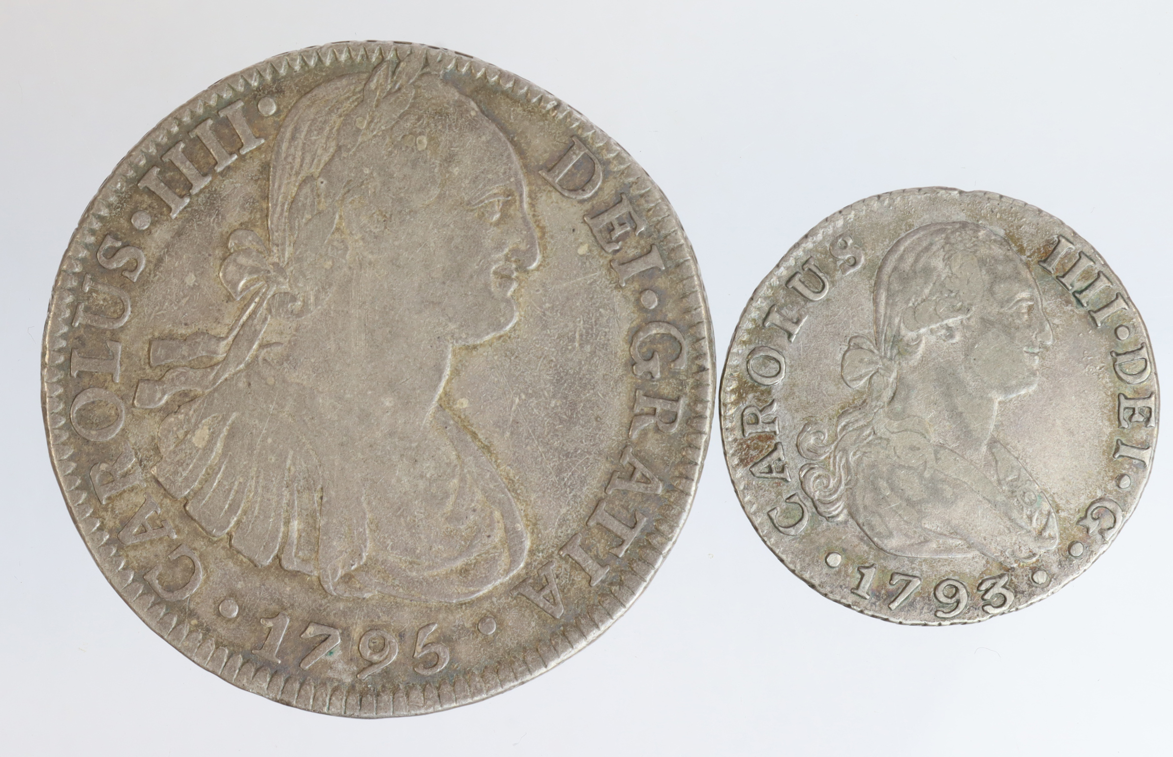 Spanish Colonial Silver (2): Mexico 8 Reales 1795 Mo FM, nVF, and Chile 2 Reales 1793 S C.N, aVF