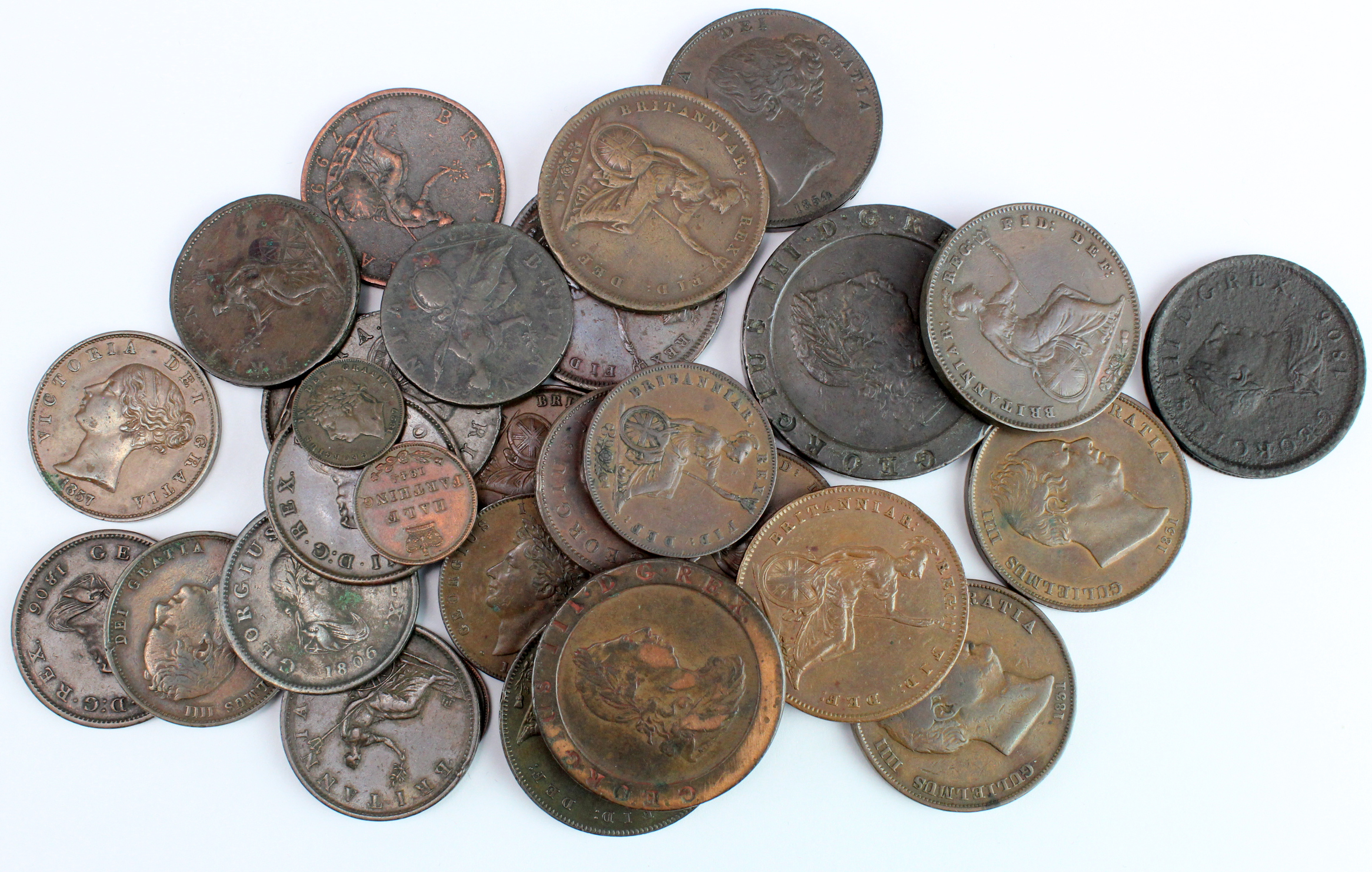 """GB Copper (32) 18th-19thC, from Third-Farthings to """"Cartwheel"""" Twopence; mixed grade."""