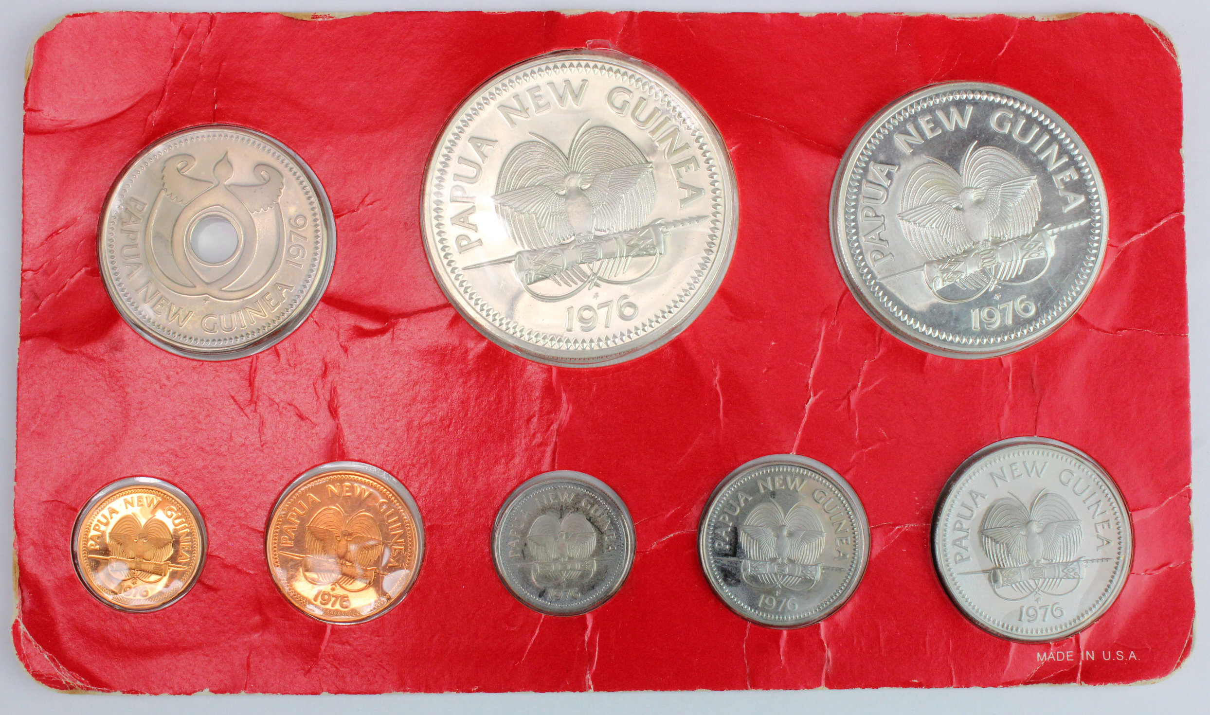 Papua New Guinea 9-coin proof set 1976 including large silver issues, lightly toned FDC in celophane