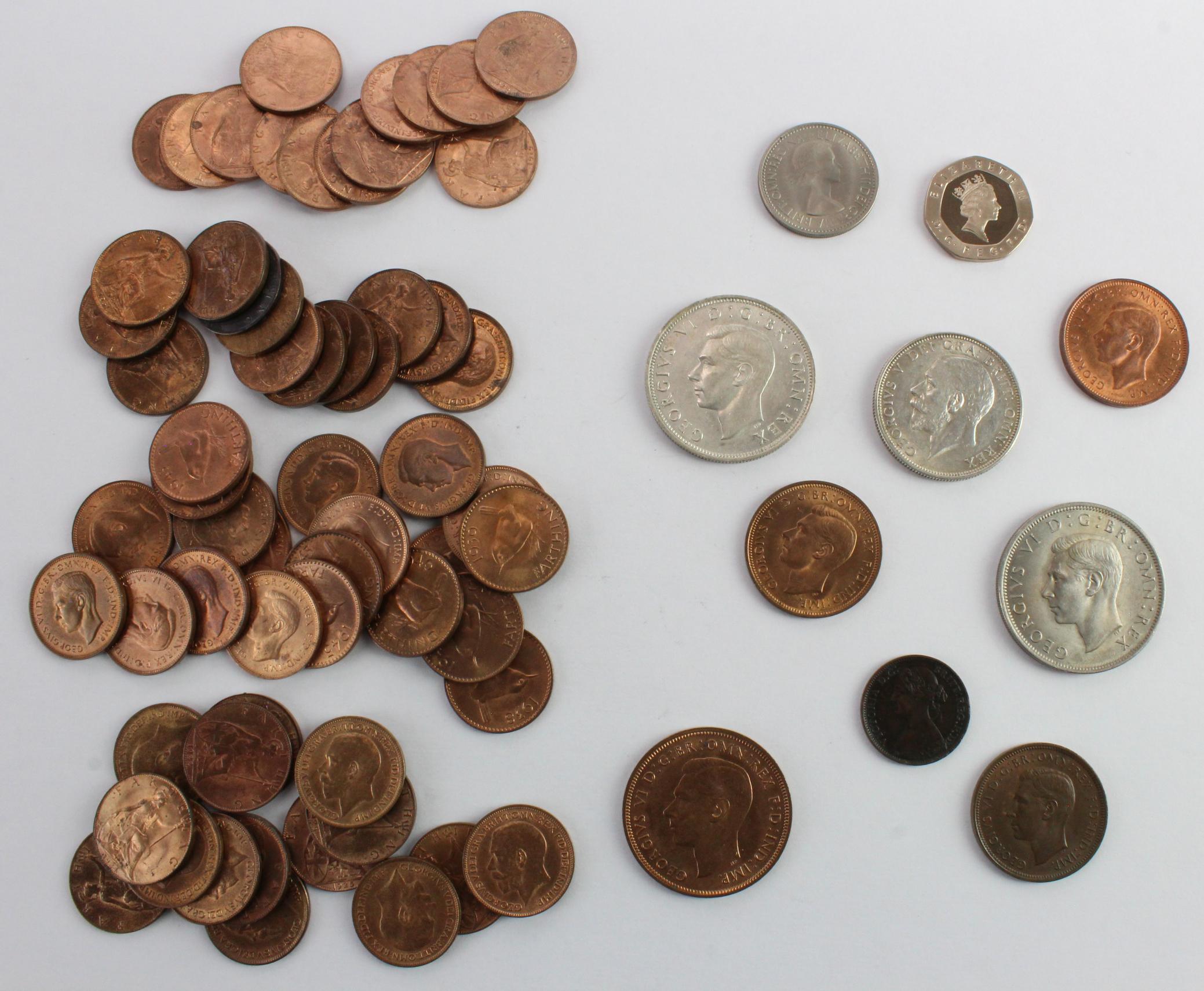 GB Coins (71): Halfcrown 1943 UNC, 1949 UNC; Florin 1928 UNC; Shilling 1953 UNC; Penny 1940 BU;