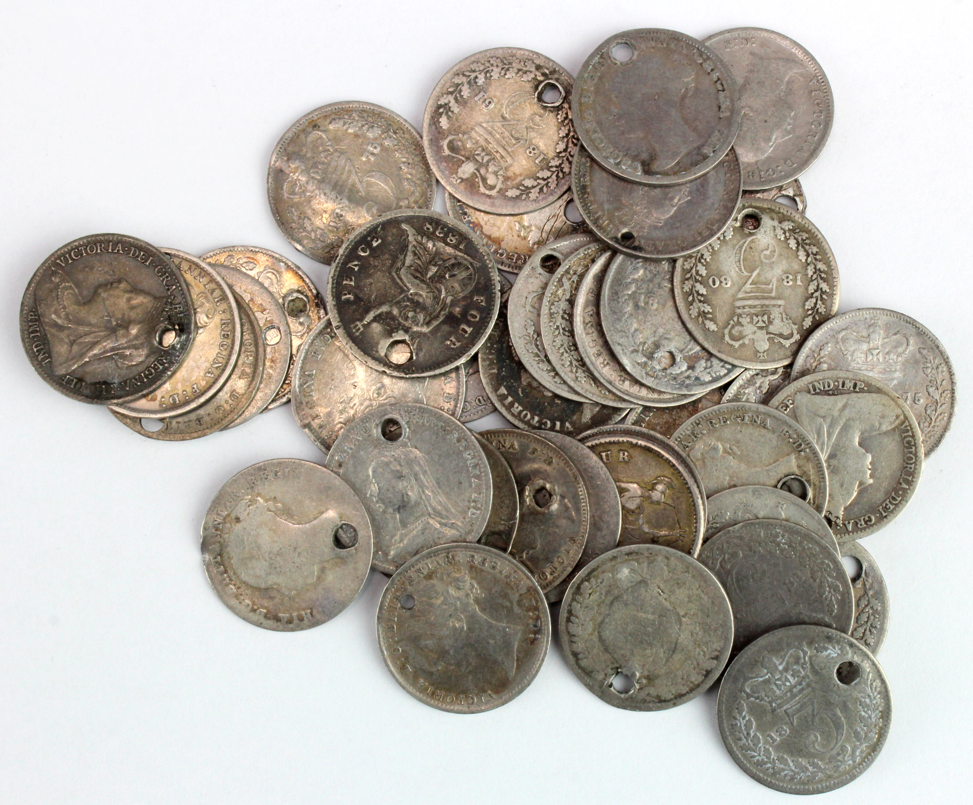 GB Silver Threepences (40) Queen Victoria, mixed grade, all holed.