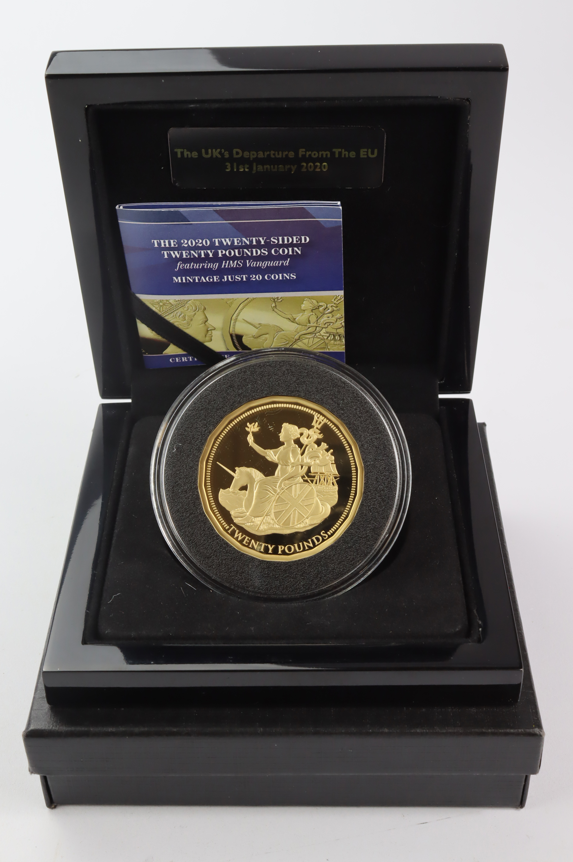 Tristan Da Cunha Twenty Pounds 2020 struck in 22ct gold (2.5oz) to a proof finish. Mintage of only