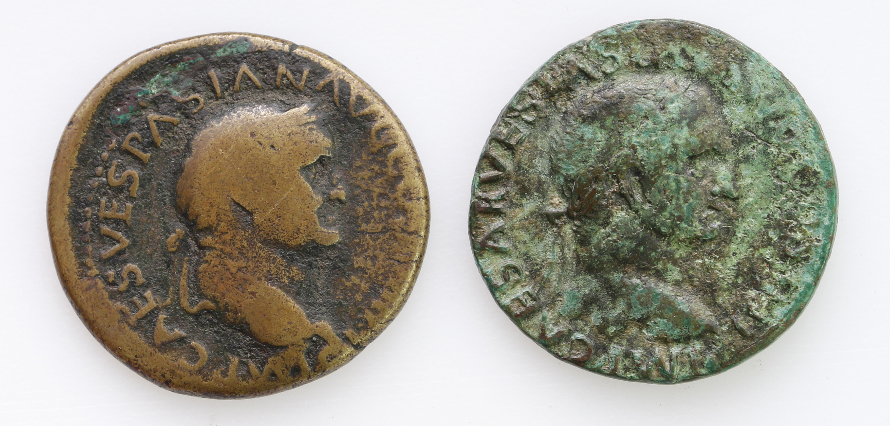 Roman Imperial: Vespasian (2): AE As, eagle on globe,11.03g, VF, green patina, along with brass