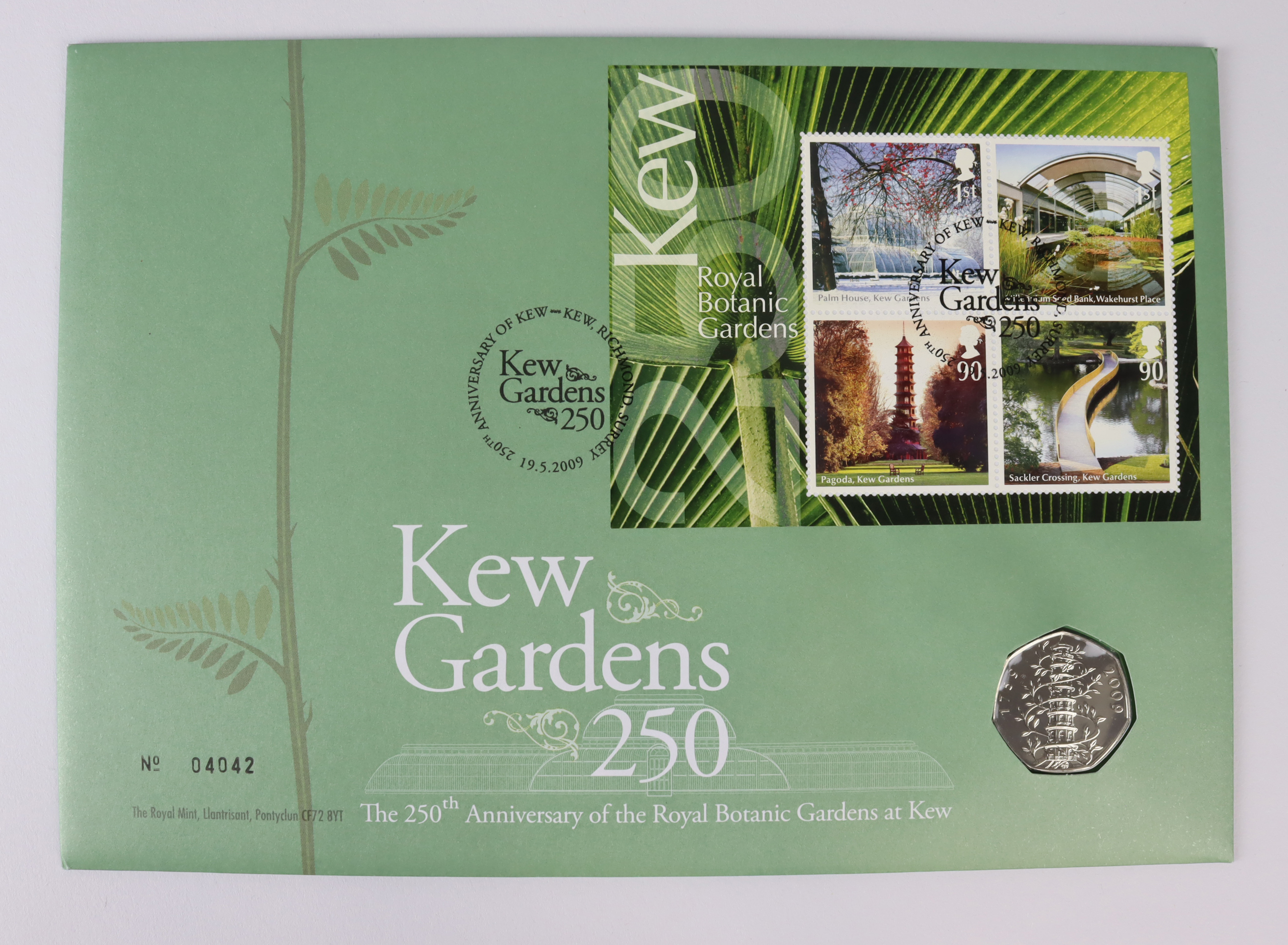 """Fifty Pence 2009 """"Kew Gardens"""" BU (some slight toning obverse). In a Royal mail FDC"""