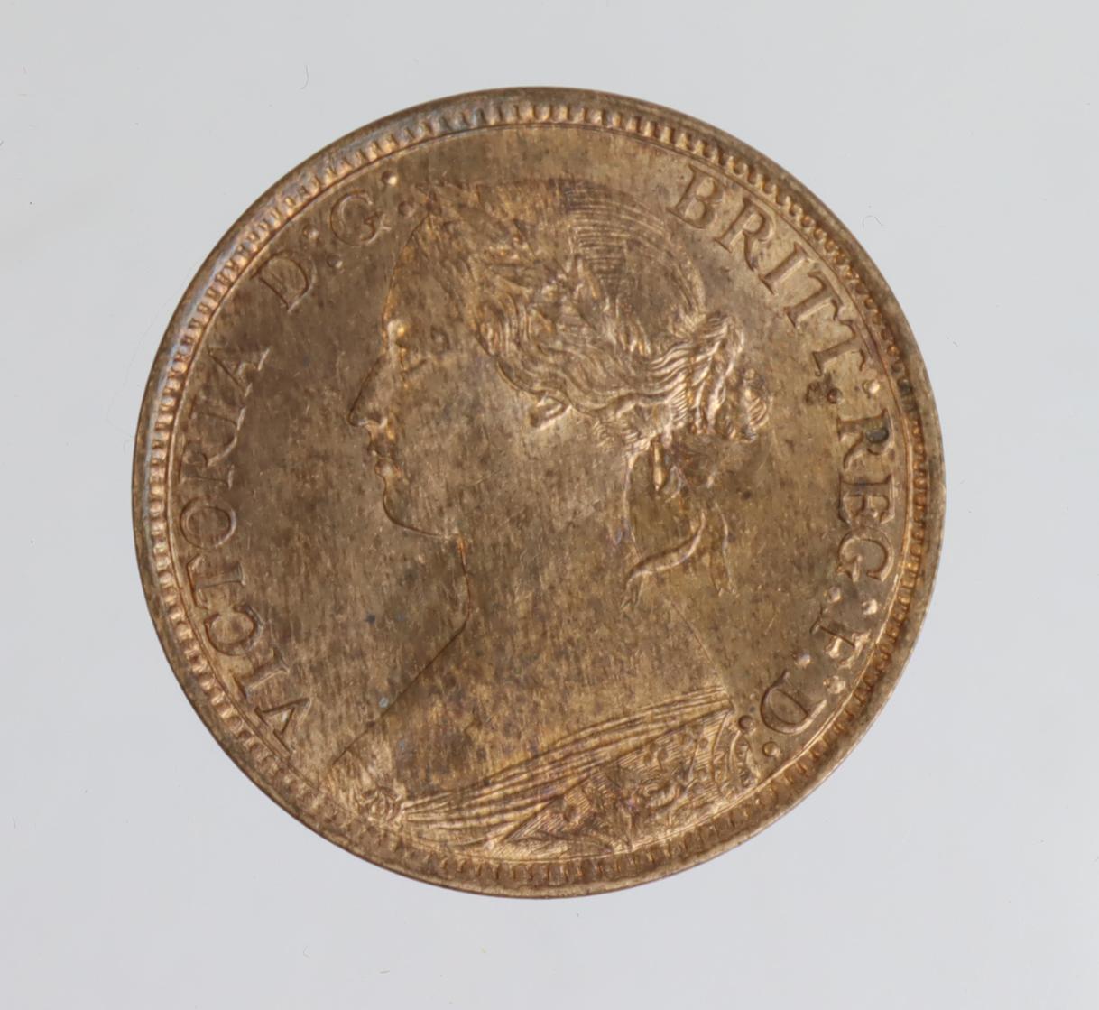 Farthing 1873 near BU, patchy tone rev.
