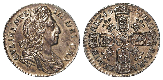 Sixpence 1699 plumes in angles, S.3546, toned aEF, rare.