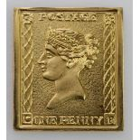 Gold re-strike of a Victiorian Penny stamp. Approx 21ct, weight 7.1g