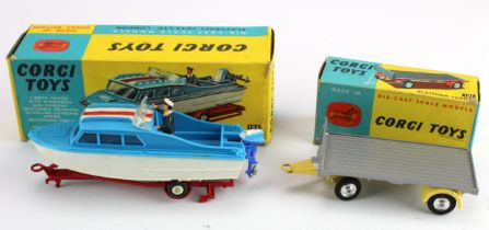 Corgi Toys, no. 104 'Dolphin 20 Cruiser on Wincheon Trailer', figure present (small piece detached