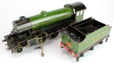 Bassett Lowke O gauge 2-6-0 locomotive and tender, length 45cm approx. (sold as seen)