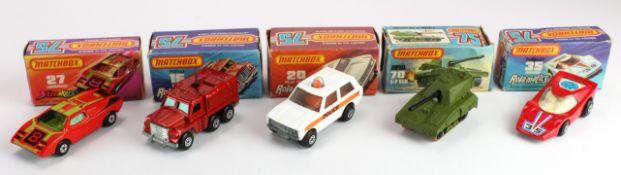 Matchbox 75 Rola-Matics Series, five boxed models, comprising nos. 16 (Badger); 20 (Police