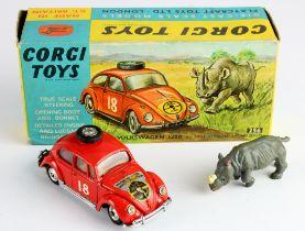 Corgi Toys, no. 256 'Volkswagen 1200' (in East African Safari Trim), with insert & rhinoceros