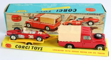 Corgi Toys, Gift Set no. 17 'Land Rover with Ferrari Racing Car on Trailer', with insert,