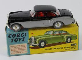 Corgi Toys, no. 224 'Bentley Continental Sports Saloon' (black / silver), contained in original box
