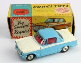 Corgi Toys, no. 231 'Triumph Herald Coupe' (blue / white), contained in original box