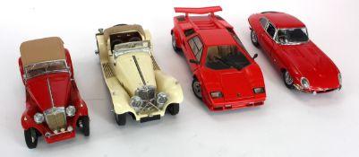 Franklin Mint. Four unboxed 1:24 scale models, comprising Lamborghini Countach 5000 S; 1938 Jaguar
