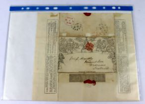 GB - 1d Mulready envelope letter sheet. Belfast to Dromore, date 8 AU 1840. Smith's Envelope