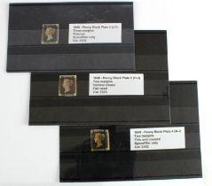 GB - 1840 Penny Blacks Plate 2 (J-C) three margins, thinned. Plate 2 (H-J) two margins, vertical
