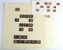 GB - 1870 QV halfpenny plates, all used except one with part gum. (approx 36)