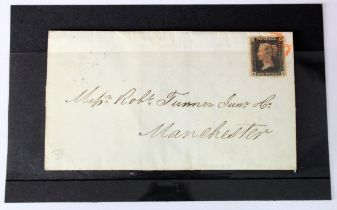 GB - 1840 Penny Black E-A on cover, tied by Red MX pmk, nearly four margins, three generous.