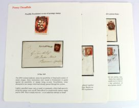GB - 1845 envelope used in London with 1d Red imperf. Cut heavily into on both lateral sides such