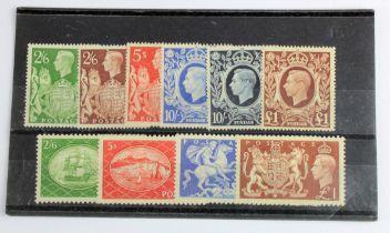 GB - KGVI 1939 High Values (6v) and 1951 Festivals (4v) all lightly hinged mint. Cat £525