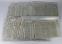 Ipswich Journal weekly newspaper, from May 5th to December 29th, 1792. (approx 27)