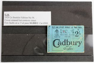 GB - 1924 2s Booklet, edition No 56, cover creased, but contents intact. Few faults on a one