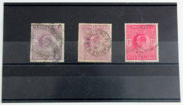 GB - EDVII 1911-12 high values, 2/6 x2 dark purple & dull reddish purple a/f, and 5/-, SG316 & 317 &