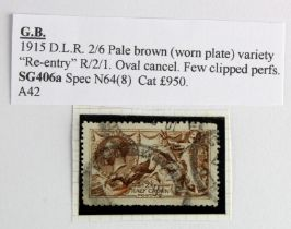 """GB - 1915 DLR 2/6 Seahorse pale brown (worn plate) var """"Re-entry"""" R2/1. Oval cancel, few clipped"""