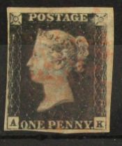 GB - 1840 Penny Black Plate 9 (A-K) four margins, surface scuffing n/e corner, good used, cat £625